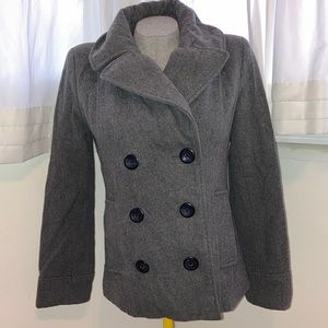 Merona Size Small Women's Button Down Gray Peacoat with pockets